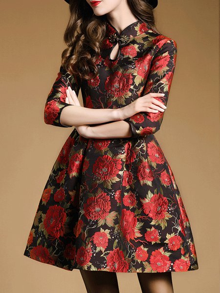 Red Floral Crew Neck 3/4 Sleeve Jacquard Mini Dress