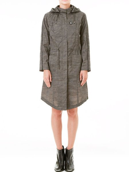 Gray Long Sleeve Zipper Coat