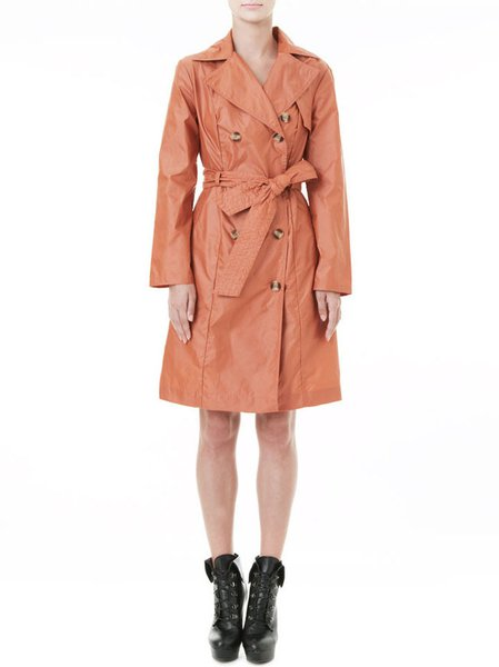 Pink Cotton-blend Buttoned V Neck Long Sleeve Trench Coat