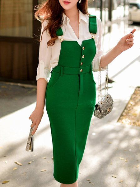 Green Spandex Sweet Buttoned Plain Midi Skirt