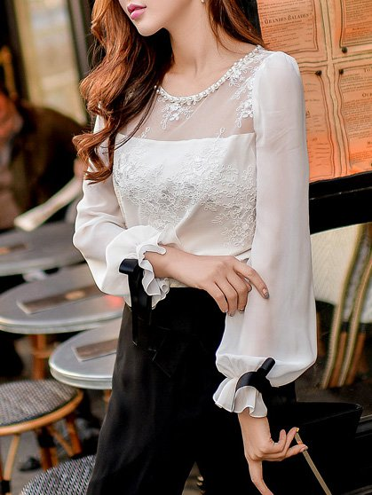 White Crew Neck Sweet Polyester Blouse