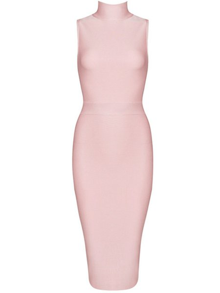 Pink Viscose Bodycon Sleeveless Crew Neck Midi Dress