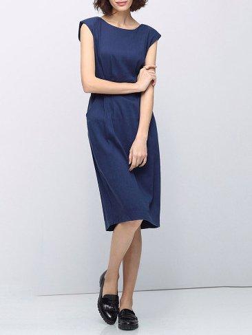 Blue Crew Neck Sleeveless Plain Cotton-blend Midi Dress