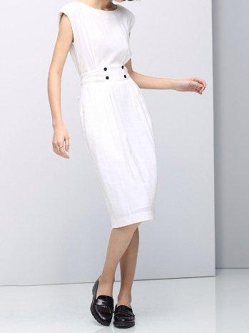 Cotton-blend Crew Neck Casual Sleeveless Midi Dress