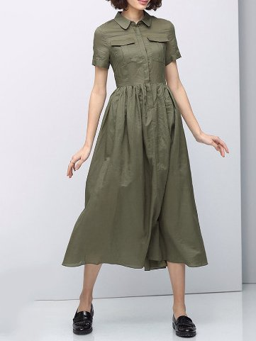 Green Cotton Plain Pleated Shorts Sleeve Midi Dress
