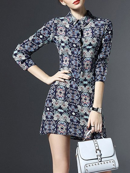 Multicolor Floral Casual Silk Mini Dress