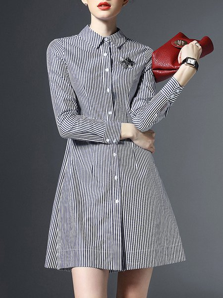 Black Casual Stripes Buttoned V Neck Shirt Dress