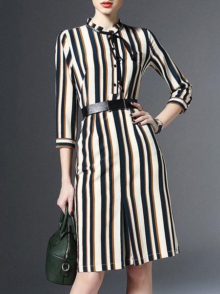 H-line 3/4 Sleeve V Neck Work Midi Dress