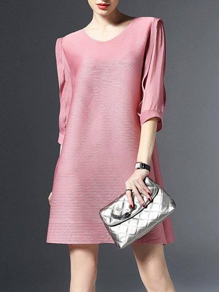 Pink Casual Crew Neck Polyester Shift Mini Dress