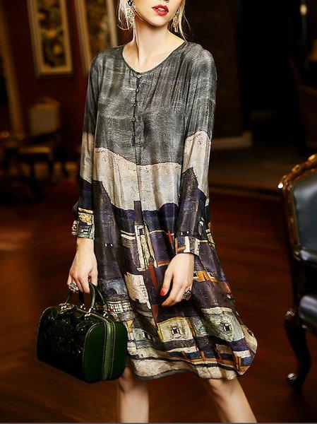 Multicolor Shift Long Sleeve Midi Dress