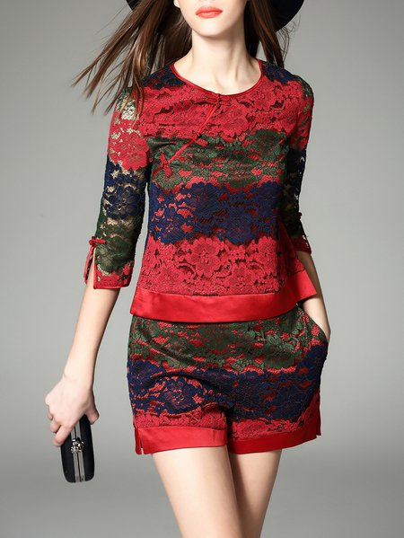 3/4 Sleeve Pierced Two Piece Crew Neck Casual Romper