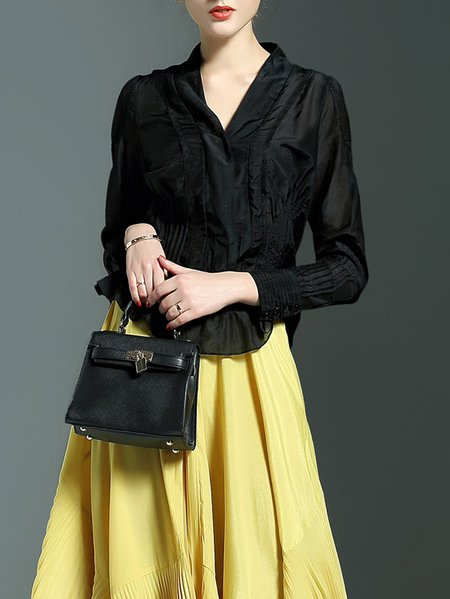 Black Casual H-line Pleated Blouse