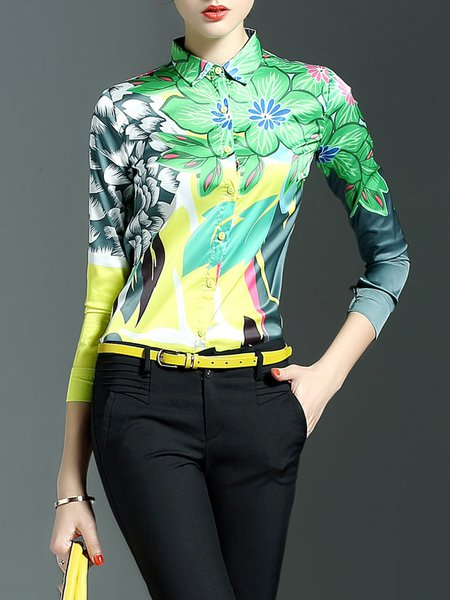 Green Floral V Neck Polyester Casual Blouse
