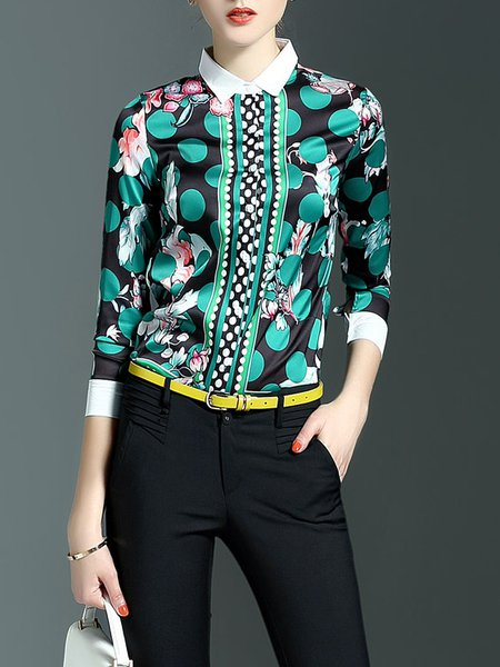 Casual V Neck Floral-print Floral Long Sleeve Blouse