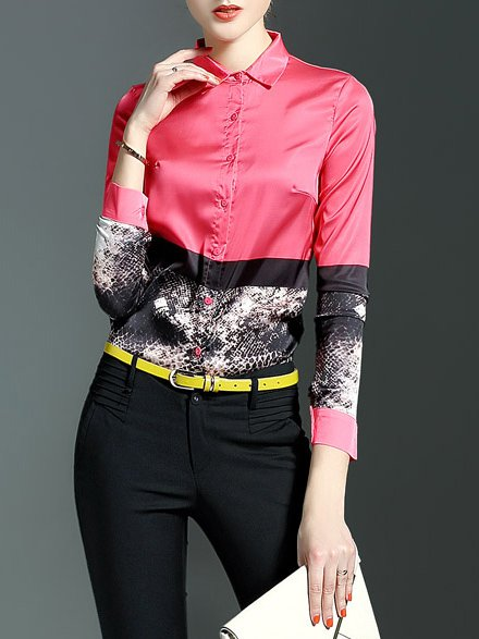 Red Casual Polyester H-line V Neck Blouse