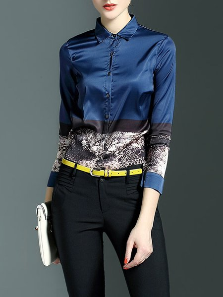 Blue Casual Printed Blouse