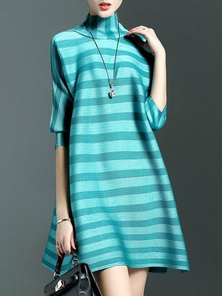 Blue Casual A-line Mini Dress