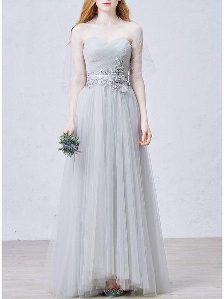 Light Gray Vintage Plain Sweetheart Evening Dress