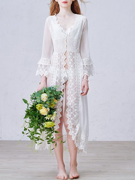 V Neck Long Sleeve Sweet Embroidered Chiffon Coat