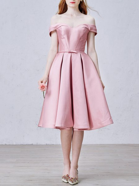 Pink Vintage Bow Plain Evening Dress