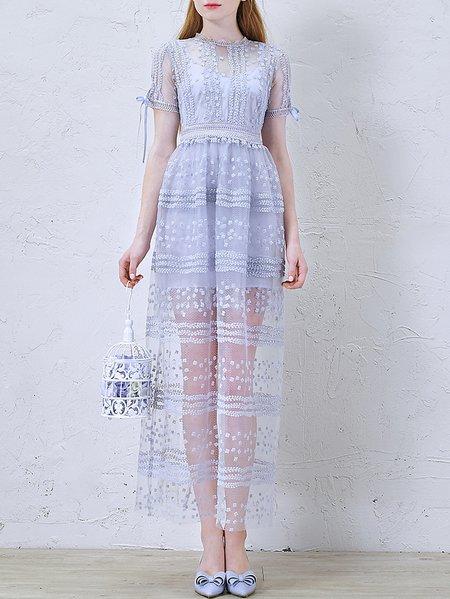 Purple Lace Short Sleeve Evening Dress