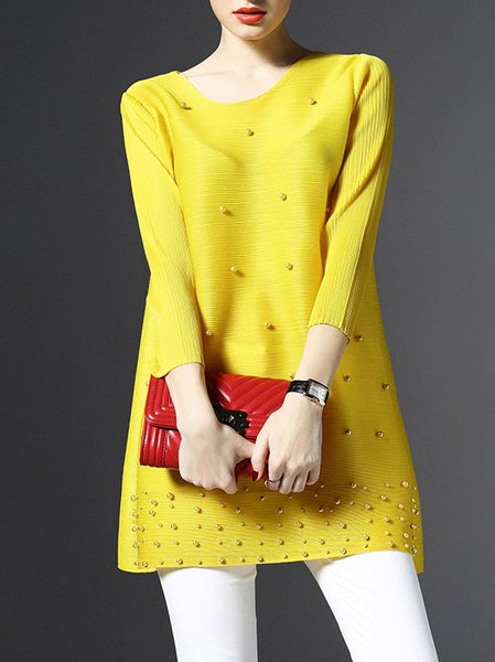 Yellow 3/4 Sleeve Polyester Plain Tunic