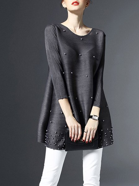 Gray Casual Crew Neck Beaded Tunic