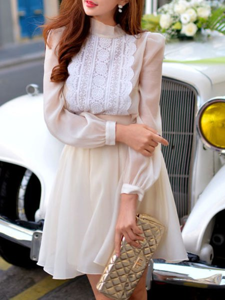 Simple Turtleneck Paneled Long Sleeve Organza Blouse