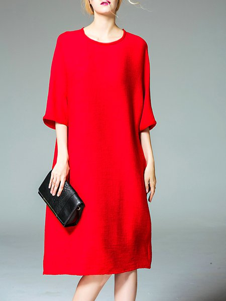 Red Plain Casual Midi Dress