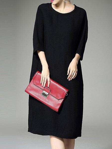 Black 3/4 Sleeve Cocoon Crew Neck Midi Dress