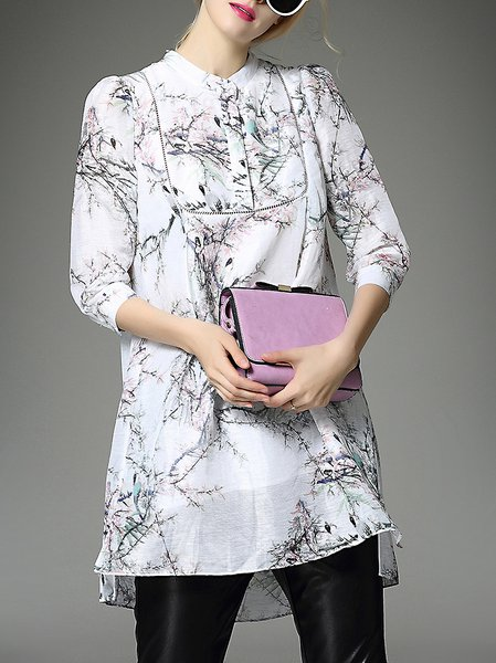 White Casual Crew Neck Floral Tunic