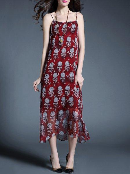 Red Spaghetti Floral-print Maxi Dress