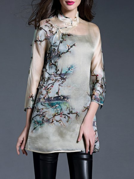 Casual 3/4 Sleeve Crew Neck H-line Floral Tunic
