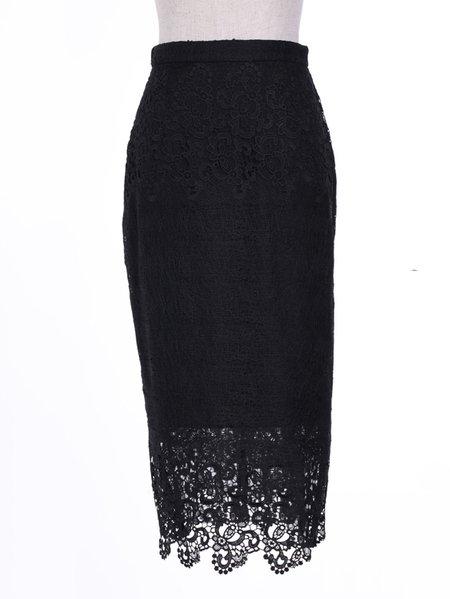 black plain bodycon lace casual midi skirt stylewe
