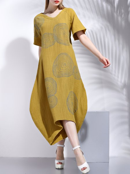 Shift V Neck Printed Casual Short Sleeve Midi Dress