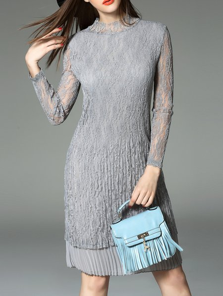Gray Sheath Ribbed Casual Crew Neck Midi Dress