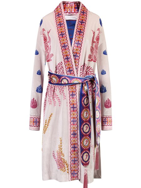 Pink Polyester V Neck Printed Long Sleeve Coat