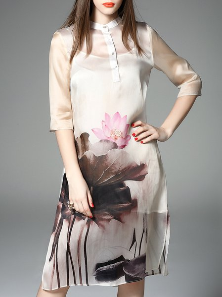 White Half Sleeve Floral Crew Neck Printed Midi Dress