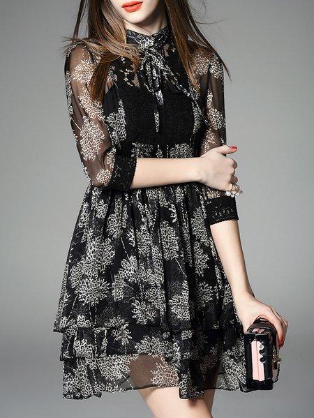 Girly Silk Half Sleeve Floral Two Piece Mini Dress