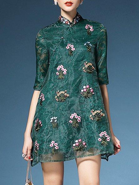 Casual Half Sleeve Organza Mini Dress