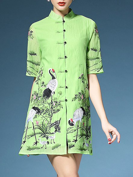 Green Vintage Polyester Stand Collar A-line Shirt Dress