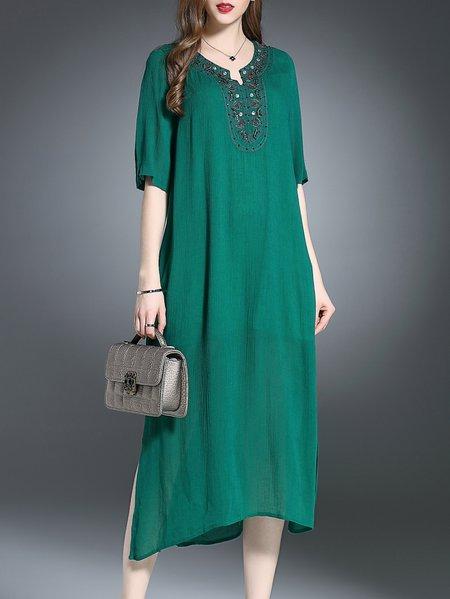 Green Half Sleeve Silk Plain Midi Dress