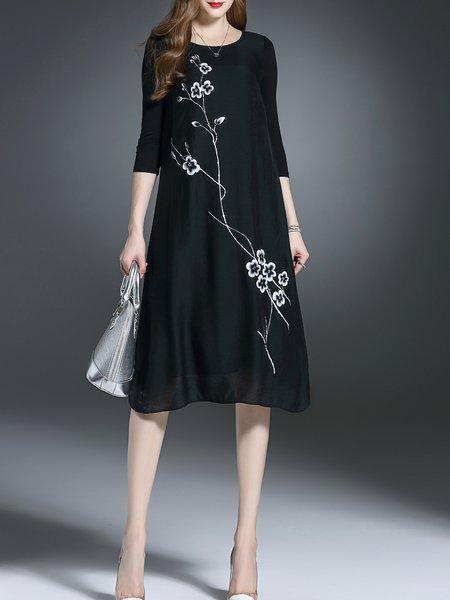 Black 3/4 Sleeve Printed Midi Dress