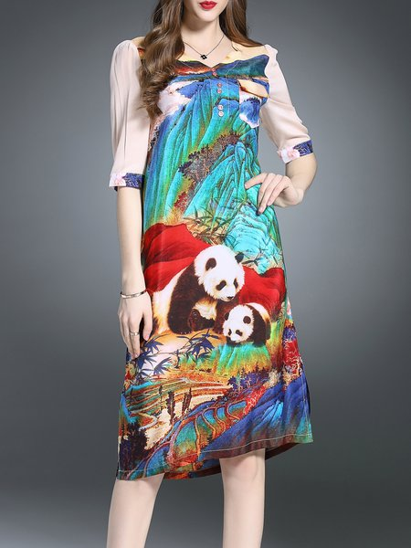 Multicolor Printed Vintage Midi Dress