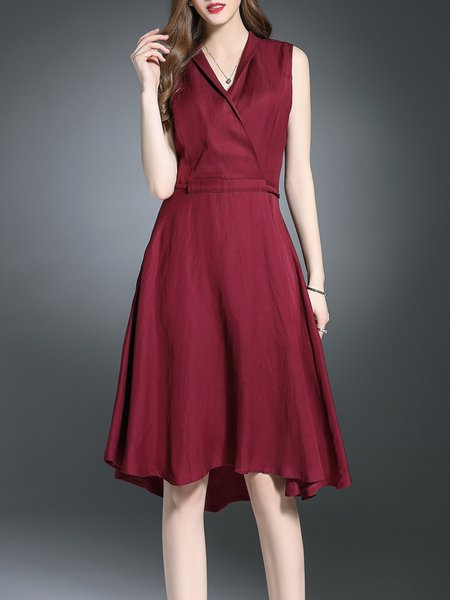 Burgundy Sleeveless Cotton Midi Dress