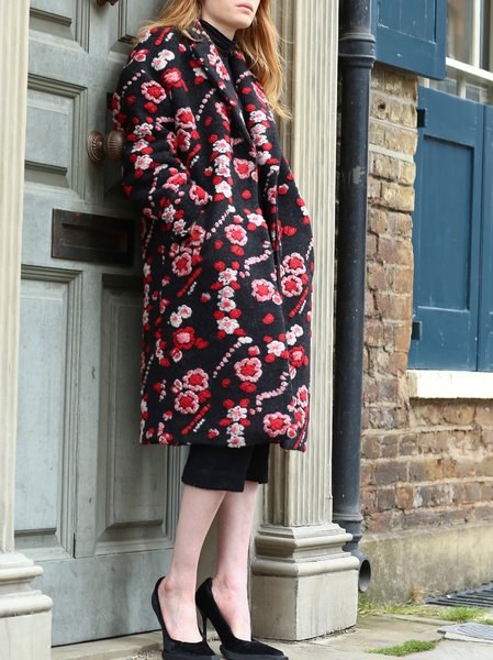 Red Casual Floral-print Crew Neck Wool Blend Coat