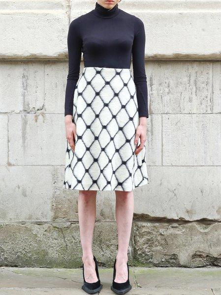 White Casual Wool Blend Midi Skirt