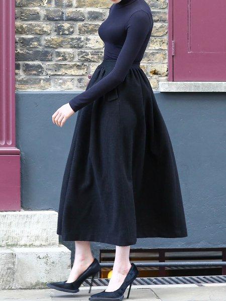 black casual wool blend maxi skirt stylewe