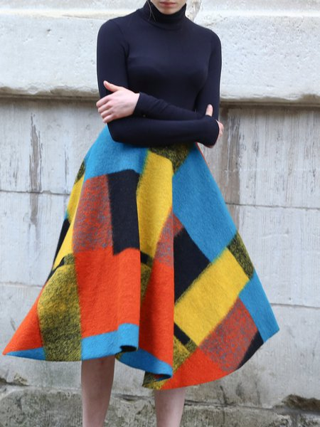 Multicolor Wool Blend Folds Geometric Color-block Statement Midi Skirt