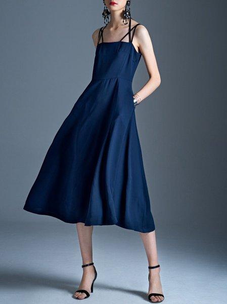 Blue A-line Simple Pockets Nylon Midi Dress